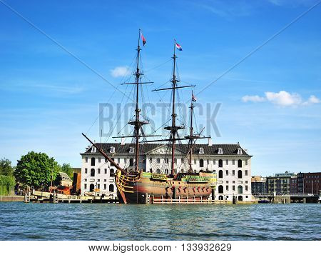 Antique pirate ship in Amsterdam, the Netherlands.