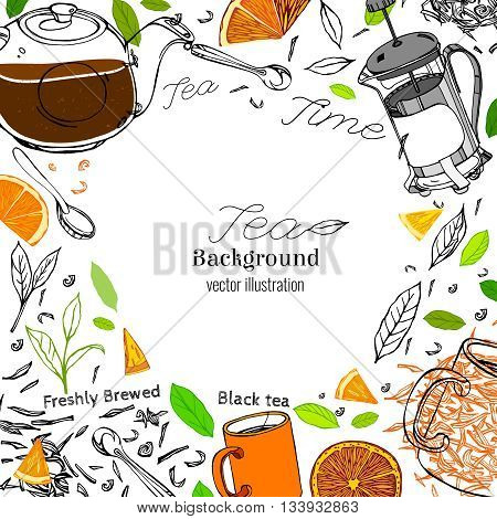 Hand drawn tea time image in artistic style. Vector editable illustration on a white background. Glass round teapot, coffeemaker, spoons and cups, orange slices and tea leaves.