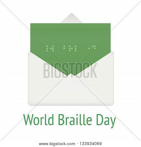 World braille day concept. Communication system script for blind, vector illustration