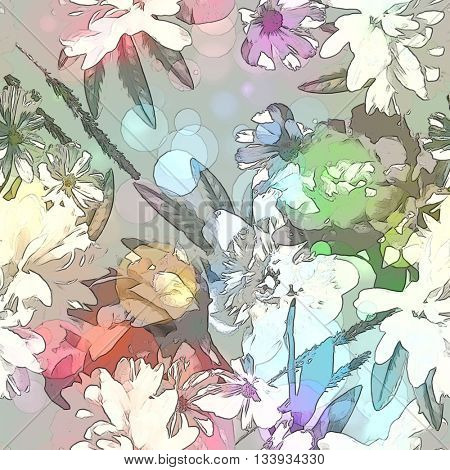 art vintage colored blurred floral seamless pattern with white, purple and green peonies on light grey background. Bokeh effect