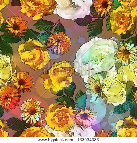 art vintage colored blurred floral seamless pattern with gold yellow, red and white roses, asters and peonies on brown background. Bokeh effect