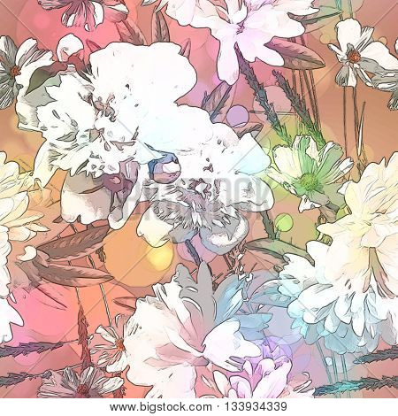 art vintage colored blurred floral seamless pattern with white peonies on light pink and gold background. Bokeh effect