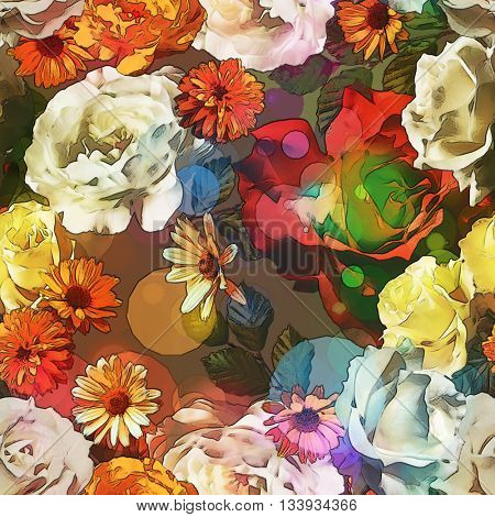 art vintage colored blurred floral seamless pattern with gold yellow, red and white roses, asters and peonies on dark brown background. Bokeh effect