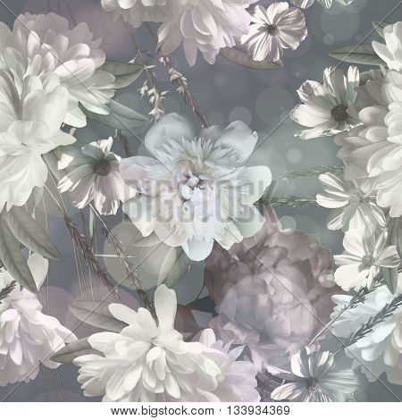 art vintage monochrome blurred floral seamless pattern with white peonies on light grey background. Bokeh effect