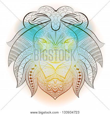 Lion tribal ethnic animal. Drawing tattoo design and totem, decoration, traditional mammal predator. Vector illustration