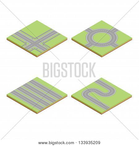 Part of the road highway isometric element. Road for transport and highway cartography plan, vector illustration