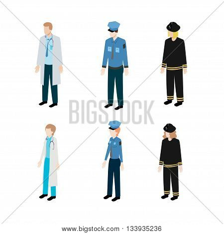 Set of occupations police, firefighters and doctors. Job of collection, people person in uniform, vector illustration