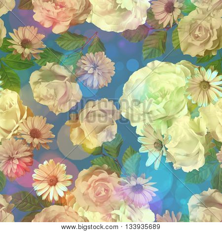 art vintage colored blurred floral seamless pattern with white roses, asters and peonies on dark blue background. Bokeh effect