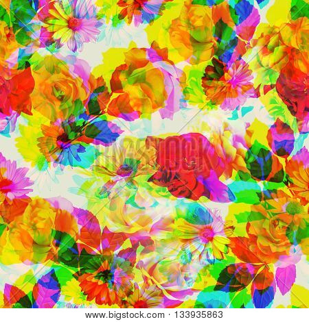 art vintage colored blurred floral seamless pattern with white, gold and red roses and peonies on white background. Double Exposure effect