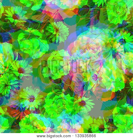 art vintage monochrome green blurred floral seamless pattern with white and red roses and peonies on background. Double Exposure effect