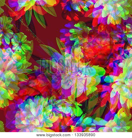 art vintage colored blurred floral seamless pattern with white and red peonies on dark purple background. Double Exposure effect