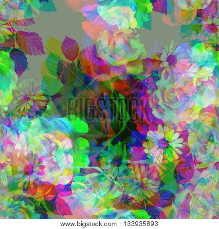 art vintage colored blurred floral seamless pattern with white and purple roses and peonies on grey background. Double Exposure effect