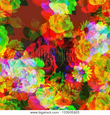 art vintage colored blurred floral seamless pattern with white, gold and red roses and peonies on purple background. Double Exposure effect