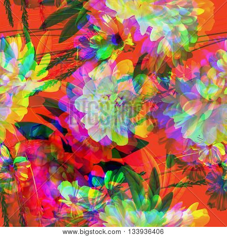 art vintage colored blurred floral seamless pattern with white and red peonies on orange red background. Double Exposure effect
