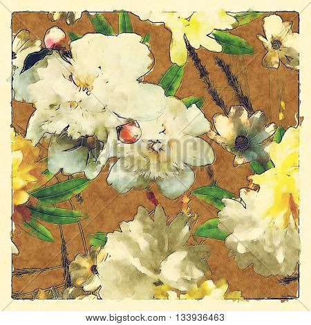 art vintage colored watercolor floral seamless pattern with white and gold peonies and roses, green grass and leaves  on gold brown background in light frame