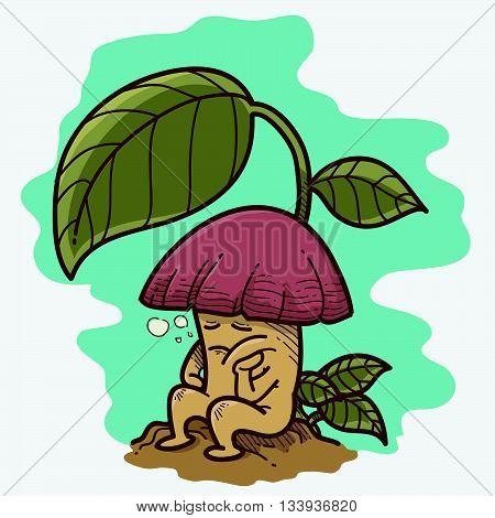 Illustration of a cartoon mushroom and a leaf