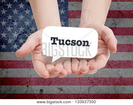 Tucson written in a speechbubble
