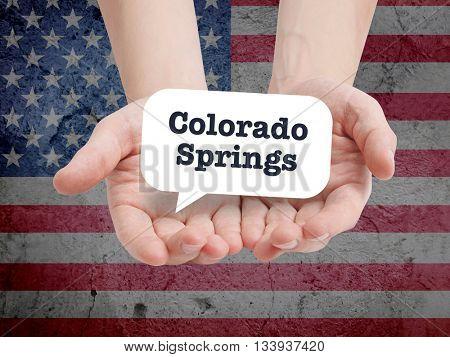 Colorado Springs written in a speechbubble