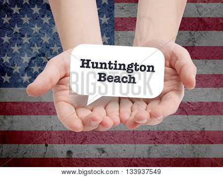 Huntington Beach written in a speechbubble