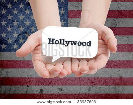 Hollywood written in a speechbubble