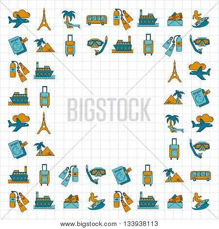 Vector set of travel icons Simple Linear design