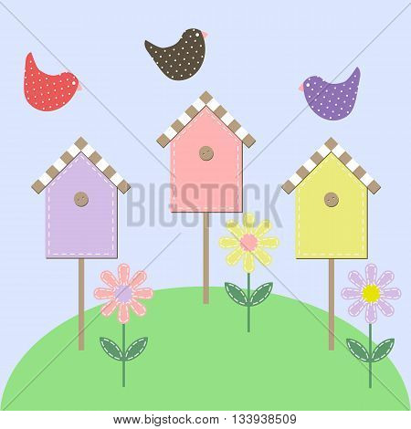 Birds over the starling houses. Vector illustration