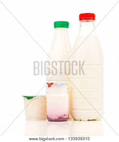 milk dairy products and yogurt in the plastic bottle on white background