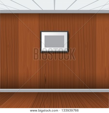 Illustrated realistic photo frame with wood interior room. Realistic Wooden room and floor. Perfect for your presentations Vector illustration