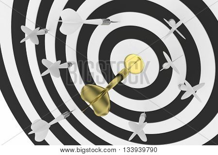 Darts board with golden center and arrow on white background. 3D rendering.