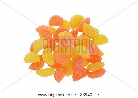 top view sugar coated orange and lemon candy
