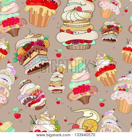 pattern with the image of the fantastic cakes on brown background