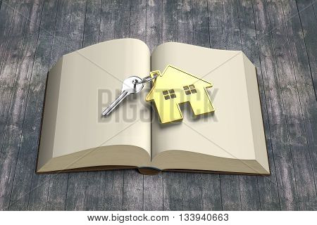 Golden House And Key On Top Of Opening Book With Old Wooden Table, 3D Rendering
