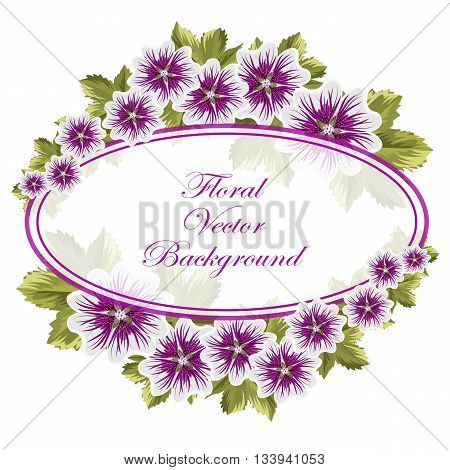 Beautiful floral background with mallows and oval banner.