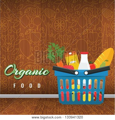 Shopping basket with foods. Fruits and vegetables in the blue basket with wood interior background. Organic food concept vector flat illustration. Trendy outline healthy food pattern
