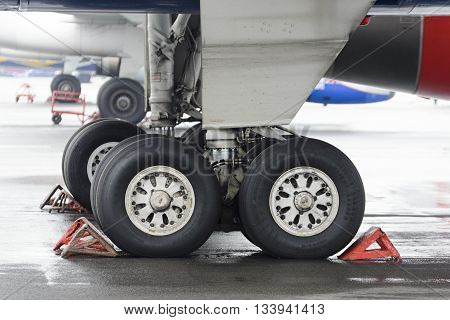 The Main Landing Gear Of Passenger Aircraft Tu-204.