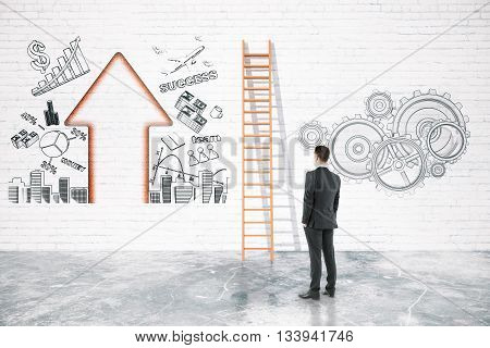 Business difficulties overcoming concept with businessman looking at ladder on brick wall with business charts. 3D Rendering
