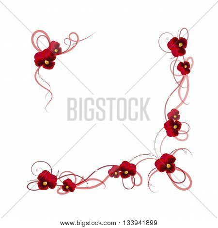 Floral vector background. Corner frame with pansy flowers, ribbons and pearls for use in your design.