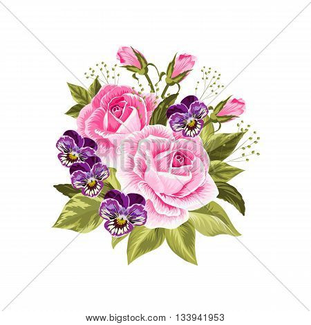 Beautiful bouquet of pink roses and purple pansies isolated on white.