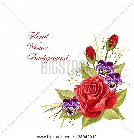 Beautiful composition of red roses, purple pansies and green grass isolated on white.