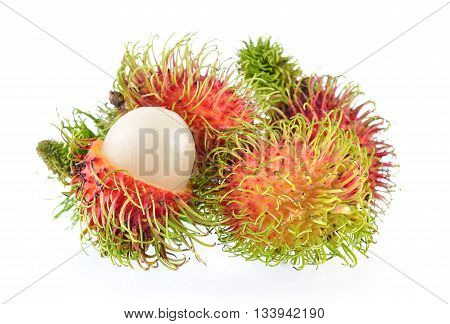 ripe rambutan isolated on a white background