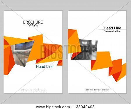 Vector brochure cover templates with blurred shop. Business brochure cover design. EPS 10. Mesh background.