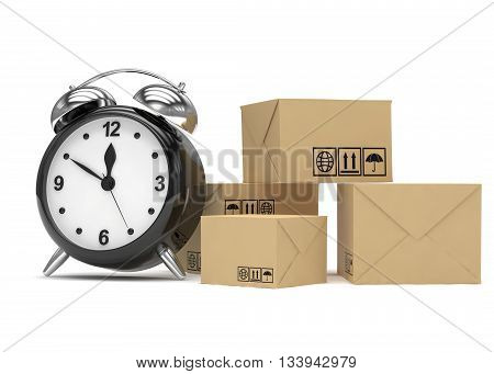 Package and alarm clock, delivery concept. 3d rendering.