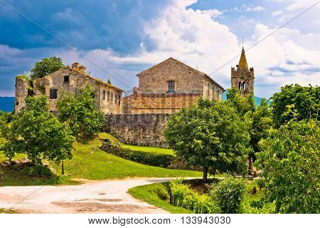 Town of Hum old stone architecture view Istria Croatia