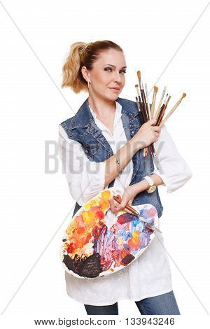 Woman artist isolated at white. Blonde middle aged woman with brushes and palette, painter. Fine art courses, college, academy. Art classes for adults, education concept.