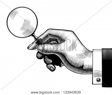Hand with an old magnifying glass. Retro style search sign and icon. Vintage engraving stylized drawing