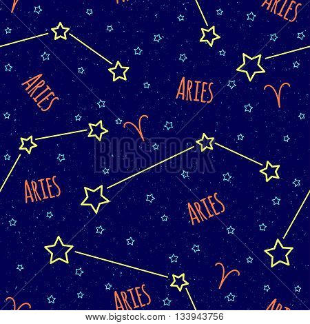 Seamless vector pattern. Background with the image of constellation Aries zodiac sign on a dark blue background with blue stars.