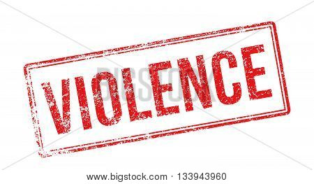 Violence Red Rubber Stamp On White