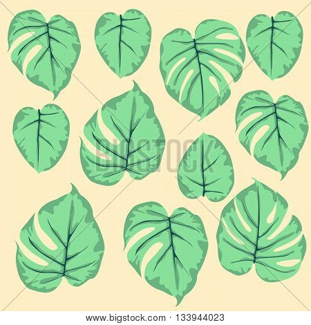 simple seamless pattern of leaves monstera green on a beige background