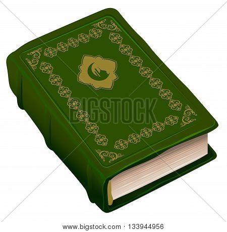 Green book Koran. Symbol of religion Islam. Isolated on white vector illustration