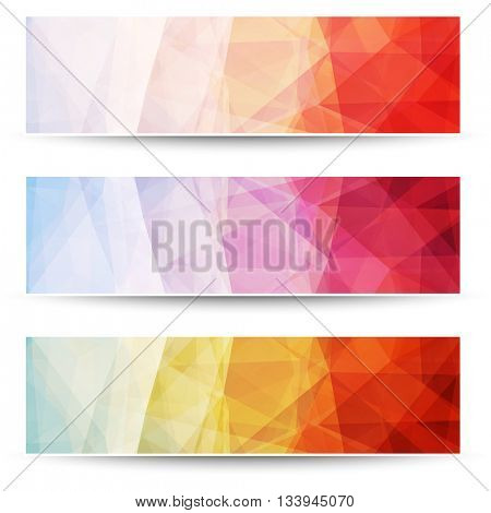 Abstract layered triangle pattern banners, vector background design.